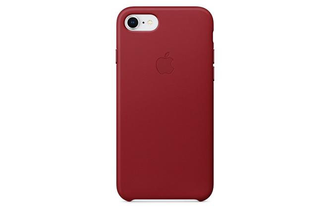 iPhone 8につけた赤いレザーケース