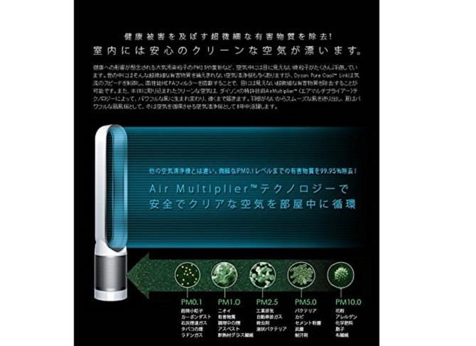 ダイソン Pure Cool Linkの空気清浄機能がわかる図