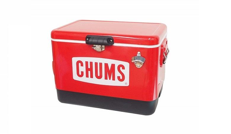 チャムス スチールクーラーボックスを正面から見た様子