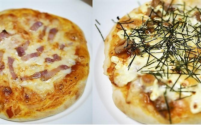 ベーコンとチーズのピザと照り焼きチキンのピザ