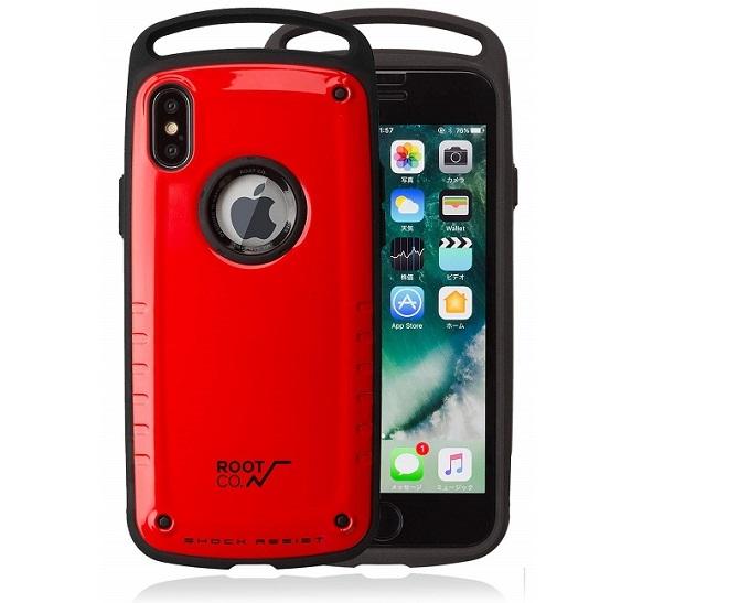 赤色のボディのROOT CO.iPhone XS Max 耐衝撃 iPhone ケース