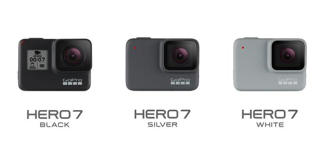 GoPro HERO7 3モデルが並んだ様子