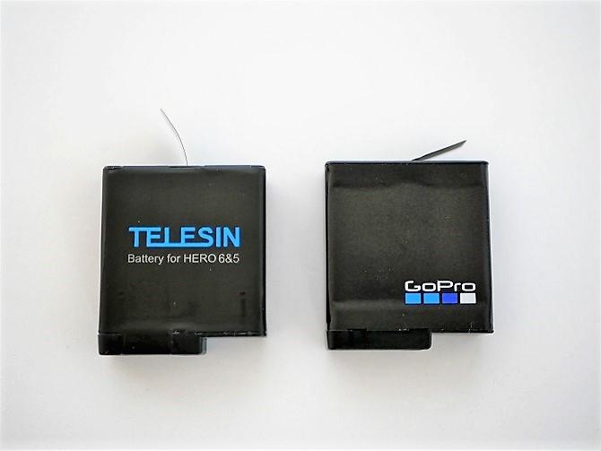 TELESINとGoProのバッテリーえお並べて置いた