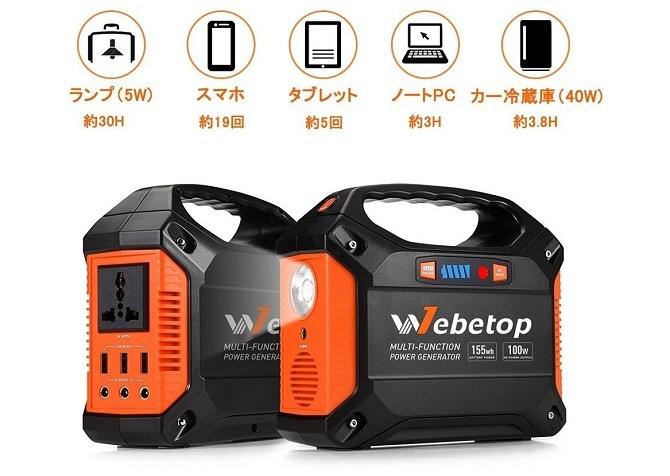 Webetop ポータブル電源の使用できる容量