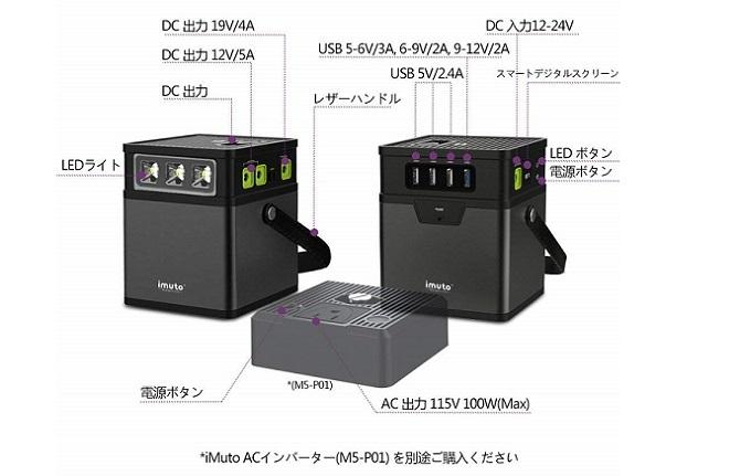 iMuto M5 ポータブル電源 出力ポート一覧