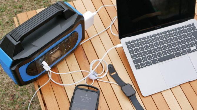 キャンプポータブル電源に繋ぐ
